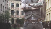 ceinture en cuir unique gravée de cranes