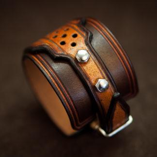 bracelet homme acier cuir moto