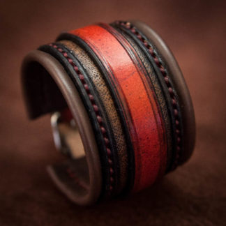 bracelet en cuir rouge et noir pour homme