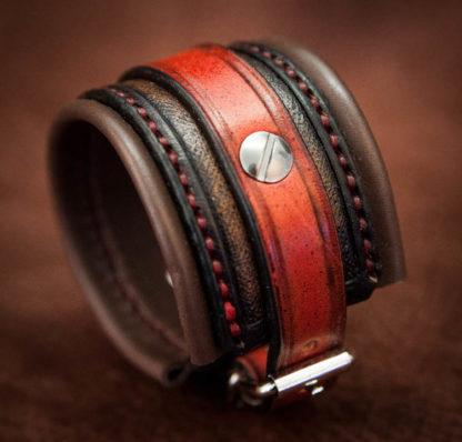 bracelet cuir rouge et noir double