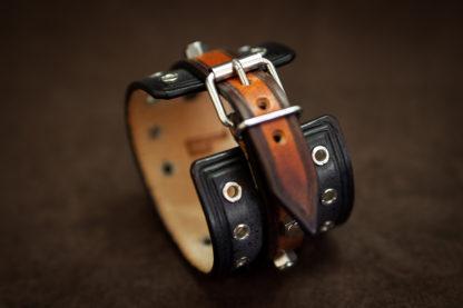 bracelet cuir biker bleu