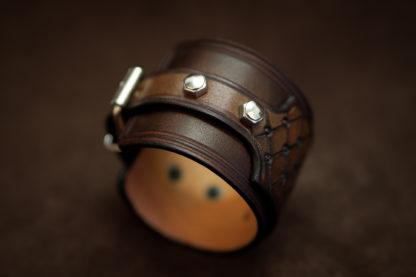 bracelet manchette cuir café racer