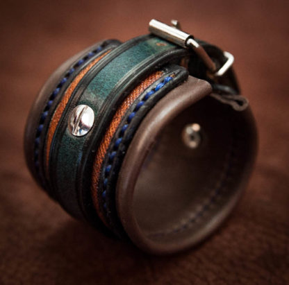 bracelet cuir bleu pour homme