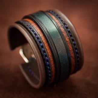 bracelet cuir bleu marron