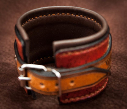 bracelet en cuir doublé fait main