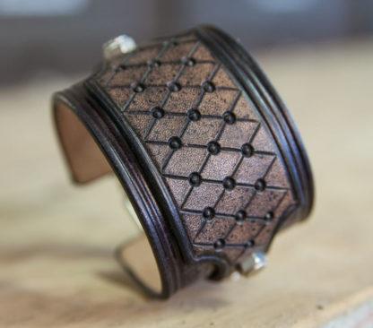 bracelet cuir noir cafe racer