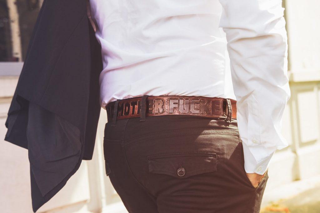 ceinture cuir costume homme noir gravée