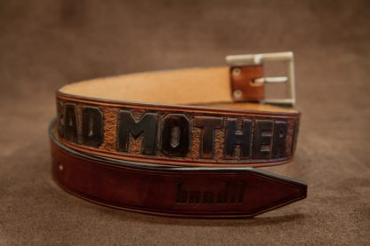 ceinture cuir artisanale gravée bad mother fucker bandit