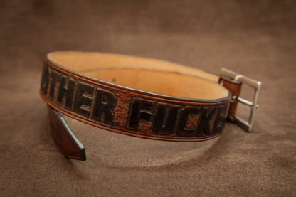 ceinture cuir fait main gravée bad mother fucker bandit france