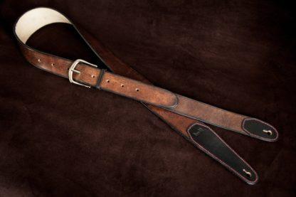 Sangle guitare cuir personnalisée marron noir-3