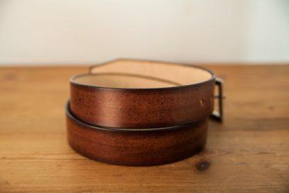 ceinture cuir marron rouge patiné-2