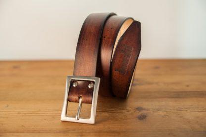 ceinture cuir marron rouge patiné-3
