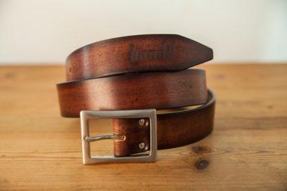 ceinture cuir marron rouge patiné
