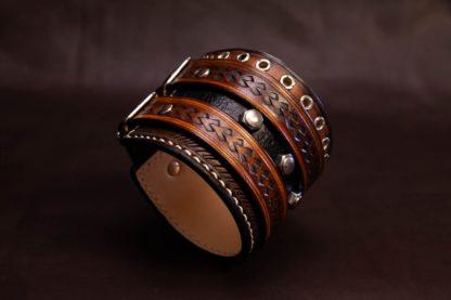 bracelet cuir de force ecrous sertis