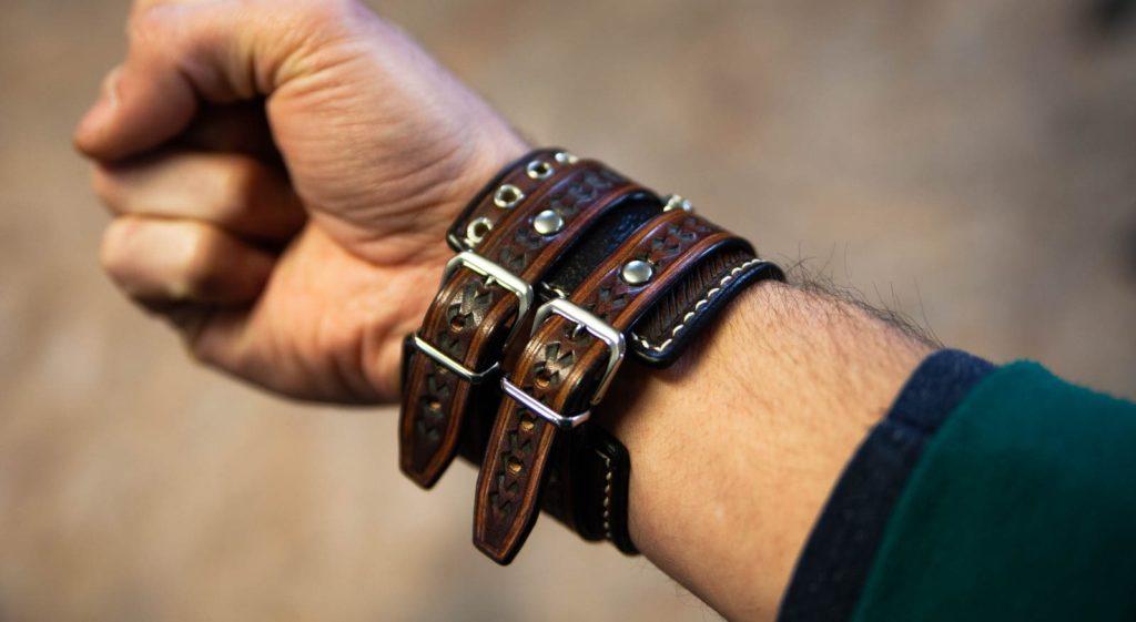 bracelet de force cuir arrow avec boucles porte