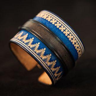 Bracelet cuir homme norway noir et bleu 2