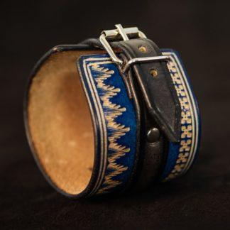 Bracelet cuir homme norway noir et bleu détail
