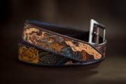 ceinture cuir personnalisée gravée motifs japonais