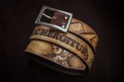 ceinture cuir personnalisée aigle gravé
