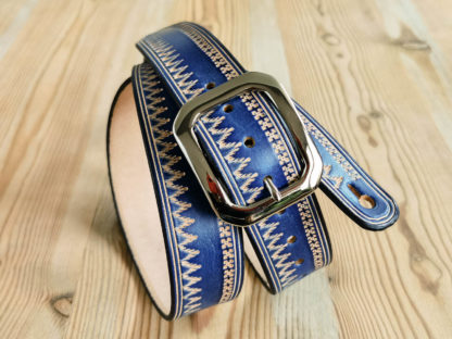 sangle guitare cuir bleu à boucle western