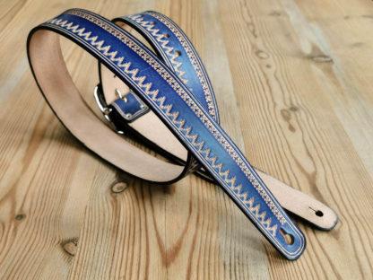 sangle guitare cuir bleu western