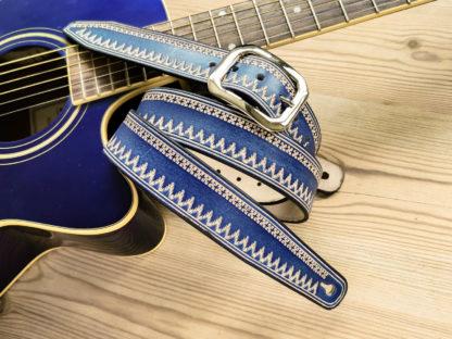 sangle guitare cuir western bleu guitare acoustique